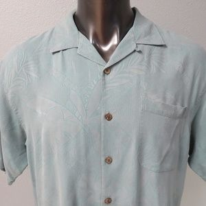 Tommy Bahama Silk Floral Shirt Sz L Hawaiian Blue